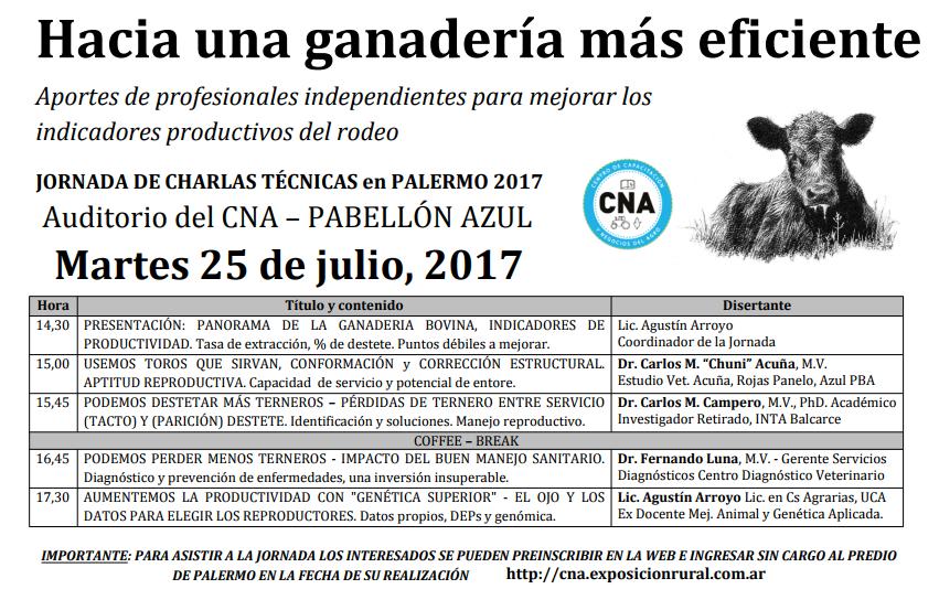 JORNADA DE CHARLAS TÉCNICAS en PALERMO 2017, Martes 25 de julio