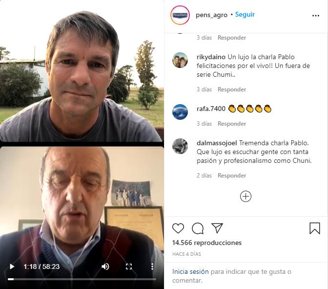 Vivo por Instagram el 31/08/2021 con Pablito Etcheberry de la firma Pens Agro